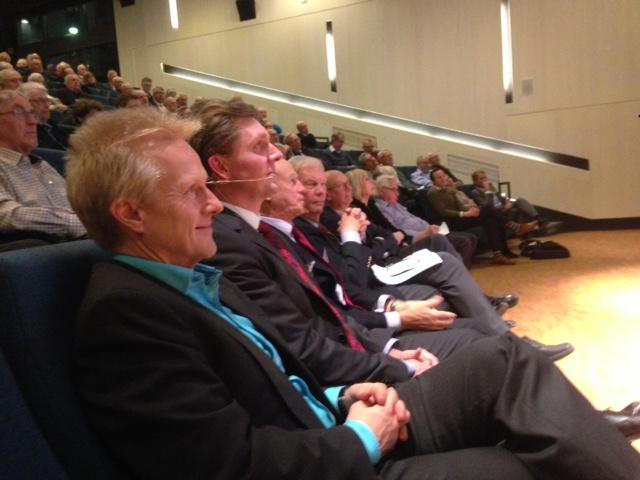 Från vänster: Stefan Fölster, Axel Brändström, ProSkandialedamot Sverker Lundkvist, Leif Hanson och fullmäktiges ordförande Leif Victorin.