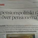 ProSkandia på DN Debatt kräver pensionspolitiskt råd
