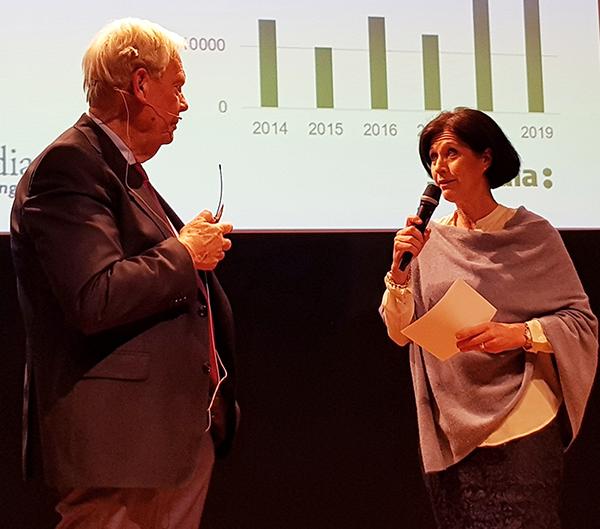 Sophie Nachemson-Ekwal avtackar Leif Hansson för åren som ordförande